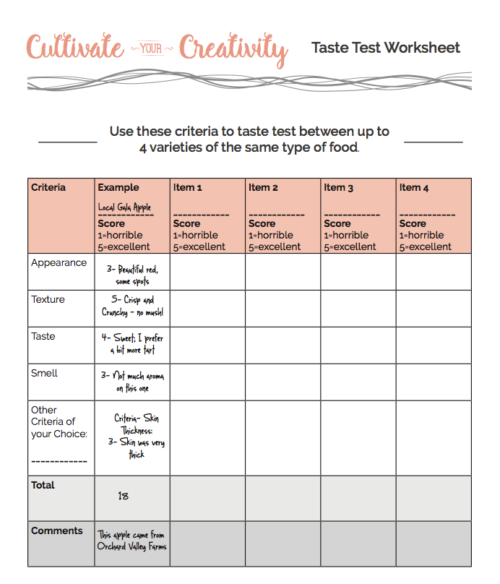 Free Taste Test Worksheet