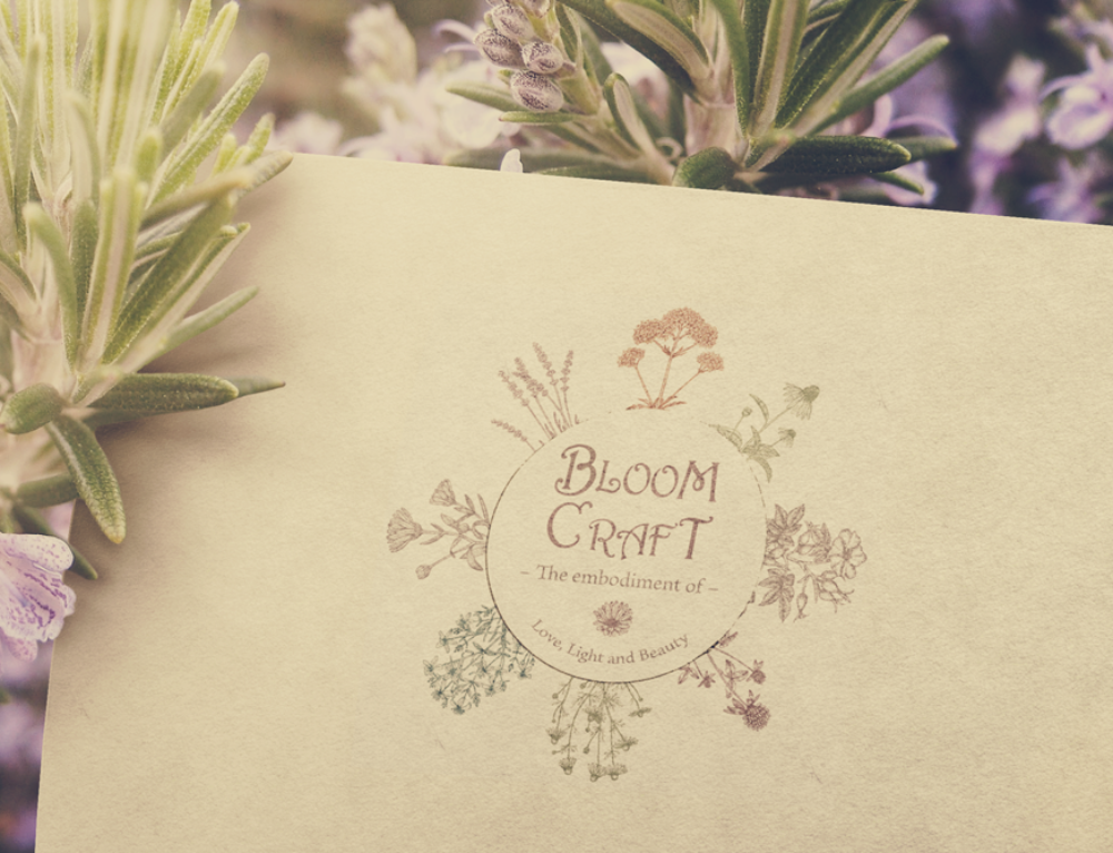 Circular Logo with Flowers for BloomCraft